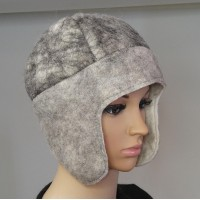 Chullo style hat with ear protection : 100% natural felted alpaca