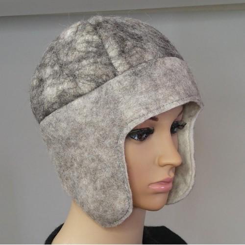 Tuque alpaga / chapeau feutré style chullo avec oreilles : 100% alpaga naturel