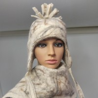Chullo style hat with ear protection : lined ears : 100% natural felted alpaca : womens tuque / mens tuque