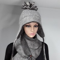 Alpaca hat/ Chullo style hat with ear protection : fully lined / reversible : 100% natural felted alpaca : womens tuque / mens tuque