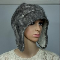Chullo style hat with ear protection : 100% natural felted alpaca : black charcoal tones : womens tuque / mens tuque