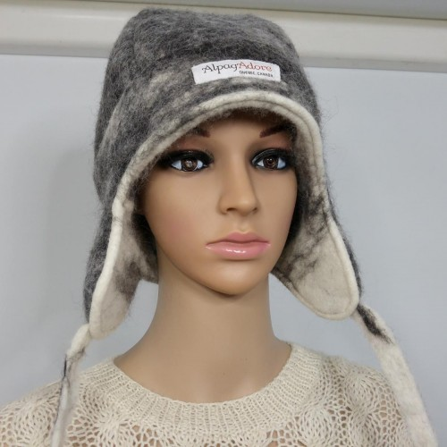 7c91b11c7ec Chullo style hat with ear protection   lined   reversible   100% natural  felted alpaca   womens tuque   mens tuque