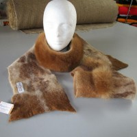 Scarf and Fingerless gloves - baby alpaca - felted and fur