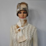 Foulard feutré 100% alpaga naturel : couleur blanc Krystal marbré : foulard pour femme ou homme