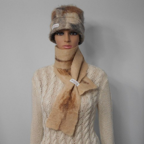 Felted scarf 100% natural alpaca : Nicandro fawn marbled color : womens scarf / mens scarf
