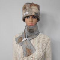 Felted scarf 100% natural alpaca : Gunsmoke silver grey color : womens scarf / mens scarf