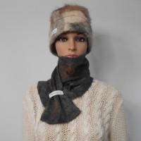 Foulard feutré 100% alpaga naturel : couleur Sultan gris charcoal marbré : foulard pour femme ou homme