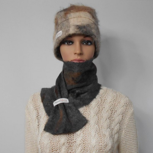 Felted scarf 100% natural alpaca : Sultan grey charcoal color : womens scarf / mens scarf