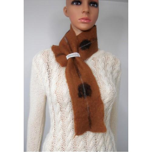 Petit foulard : alpaga naturel et soie : couleur brun Caresse