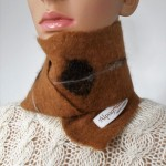 Small scarf : natural alpaca and silk : brown Caresse color