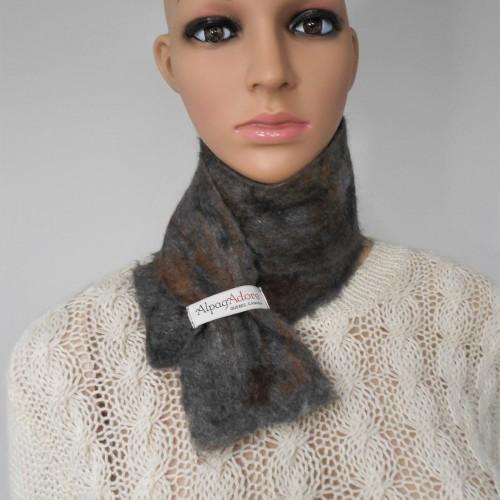 Small scarf : natural alpaca and silk : Sultan grey color