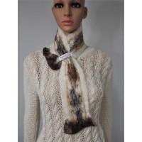 Petit foulard : alpaga naturel et soie : couleur blanc Krystal marbré