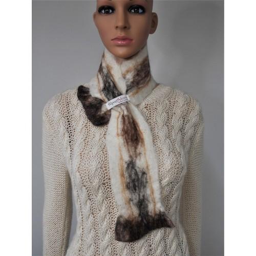 Mini foulard : alpaga naturel et soie : couleur blanc Krystal marbré