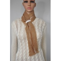 Petit foulard : alpaga naturel et soie : couleur fauve Cumulus marbré