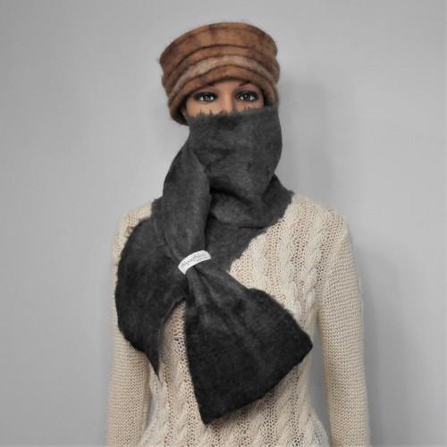 Grand foulard feutré 100% alpaga naturel : gris argent et charcoal : foulard pour femme ou homme