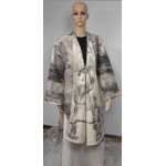 Kimono Shawl for women - white with grey and black marble design - 100% natural felted alpaca