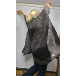 Kimono Shawl for women - charcoal and silver grey - 100% natural felted alpaca