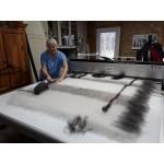 Couverture écologique naturelle et hypoallergénique : alpaga blanc-gris-noir : 140cm x 200cm