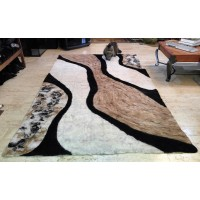 "Alpaca carpet : ""Fluid alpaca"" design : ecological natural hypoallergenic: 160 x 260 cm (63""x102"")"