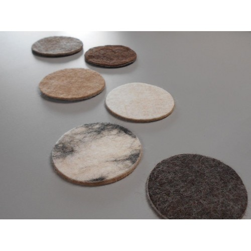 Felted coasters in natural alpaca : set of 4 or 6