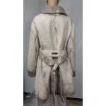 Manteau trois-quart avec ceinture et grand col - 100% alpaga naturel
