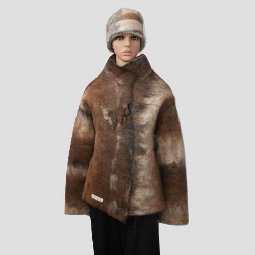 Coat / vest 100% natural alpaca - round collar
