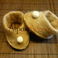 Pantoufles pour bébés - feutrées en alpaga superfin sur soie