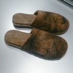 Pantoufles alpaga - semelles feutre double - bout fermé