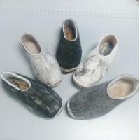 Pantoufles alpaga - semelles feutre double avec antidérapant faux cuir