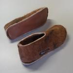 Pantoufles alpaga - coupe haute - semelles feutre double avec antidérapant faux cuir