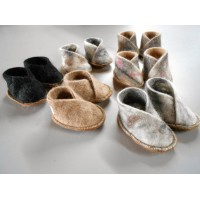 Felted Baby Slippers - 100% felted superfine alpaca