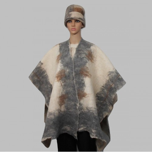 Shawl / poncho / ruana wrap for women - silver grey and creme - 100% natural felted alpaca