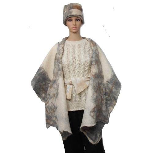 Châle poncho ruana pour femmes - gris argent et creme - 100% alpaga naturel feutré