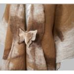 Châle poncho ruana pour femmes - brun cuivré et creme - 100% alpaga naturel feutré
