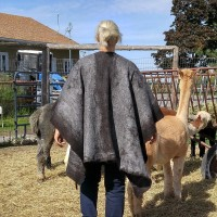 Shawl / poncho / ruana wrap for women or men - charcoal and silver grey - 100% natural felted alpaca