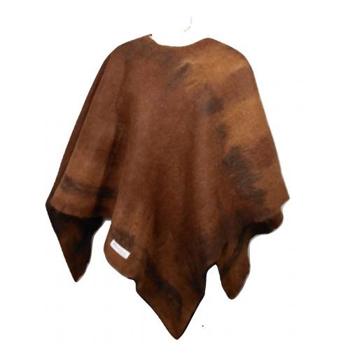 Poncho carré réversible - tons brun chaud -100% alpaga naturel