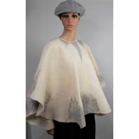 "Poncho ""Snowflakes"" design - beige-creme-grey tones - 100% natural alpaca"