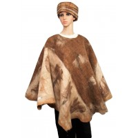 Poncho - reversible - brown-creme-fawn tones - 100% natural alpaca