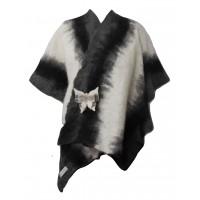 Châle poncho pour femmes - gris-noir-blanc - 100% alpaga naturel