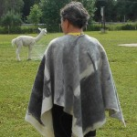 Ecofriendly Poncho - grey and white design - 100% natural felted Canadian alpaca