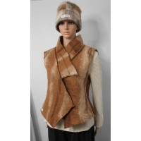 Sleeveless fitted jacket - 100% natural felted alpaca - fawn and brown tones