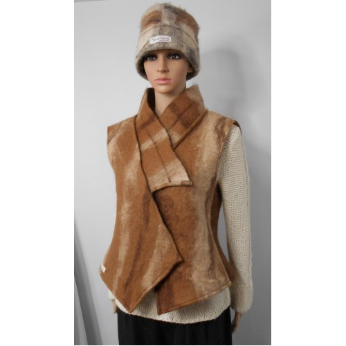 Veste ajusté sans manches - 100% alpaga naturel feutré - tons fauve et brun