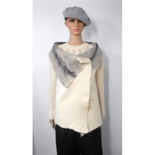Long vest 100% natural alpaca - Kala white, Gunsmoke grey