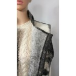 Unisex sleeveless vest - 100% natural alpaca - shades of black, grey and white