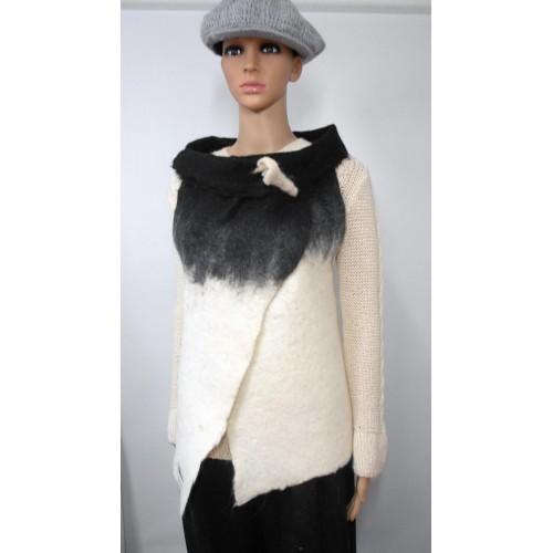 Veste longue 100% alpaga naturel - blanc Kala, noir Koda