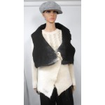 Long vest 100% natural alpaca - Kala white, Koda black
