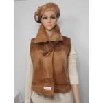 Veste sans manches - coupe classique ajusté - 100% alpaga naturel - tons fauve et brun