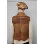 Classic cut sleeveless vest - 100% natural alpaca - shades of fawn and brown