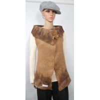 Long vest 100% natural alpaca - Twilight fawn color
