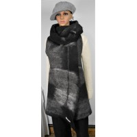 Long vest 100% natural alpaca - Renoir black, Gunsmoke grey